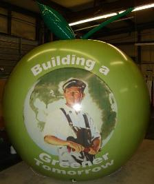 tradeshow balloons made in USA. custom green color trad show balloon with logo
