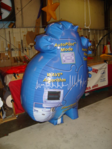 custom heart shape tradeshow balloon.