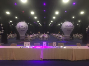 light bulb shape helium balloons with logo for trade shows